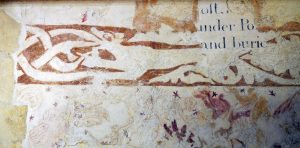 Detail on south nave of Stoke Orchard wall paintings